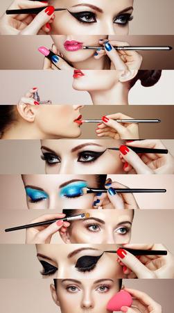 Beauty collage. Gezichten van vrouwen. Fashion foto. Make-up artist van toepassing lippenstift en oogschaduw. Vrouw die parfum toepast Stockfoto