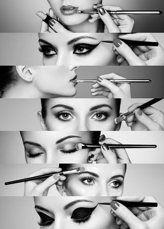 collage caras: Collage de belleza. Rostros de mujeres. Foto de moda. El artista de maquillaje aplica el l�piz labial y sombra de ojos Foto de archivo