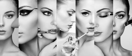 artistas: Collage de belleza. Las caras de las mujeres. Foto de moda. El artista de maquillaje aplica el lápiz labial y sombra de ojos. Mujer que aplica perfume