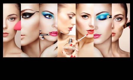 뷰티 콜라주. 여자의 얼굴. 패션 사진. 메이크업 아티스트는 립스틱과 아이 섀도우를 적용합니다. 적용하는 여자 향수