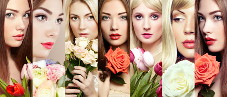 Beauty collage. Faces of women. Beautiful women with flowers. Fashion photo photo