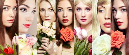 collage caras: Collage de belleza. Las caras de las mujeres. Mujeres hermosas con las flores. foto de moda