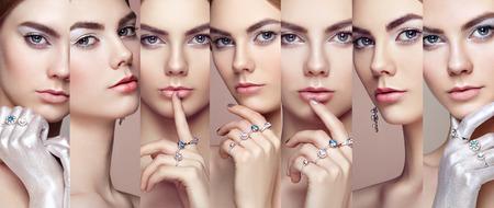 美容: 美容拼貼畫。女性的面孔。年輕漂亮的女人與珠寶的時尚畫像。金發女孩。完美化妝。美風格的女人鑽石飾品 版權商用圖片