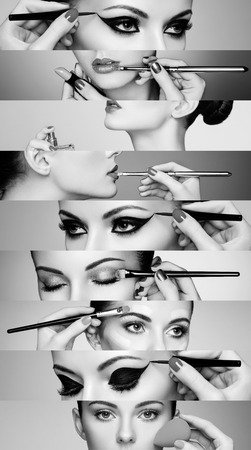 collage caras: Collage de belleza. Las caras de las mujeres. Foto de moda. El artista de maquillaje aplica el lápiz labial y sombra de ojos. Mujer aplicación de perfume. En blanco y negro Foto de archivo