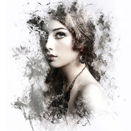 cosmetics background: Beauty woman with long curly hair. Beautiful girl with elegant hairstyle. Watercolor painting