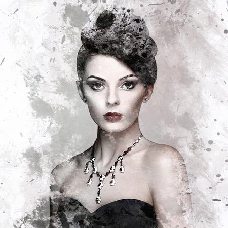 Retrato de la mujer hermosa joven con la joyería. Mujer del estilo de la belleza con los accesorios del diamante. Pintura de acuarela