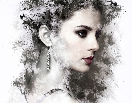 woman accessories: Fashion portrait of young beautiful woman with jewelry. Beauty style woman with diamond accessories. Watercolor painting Stock Photo