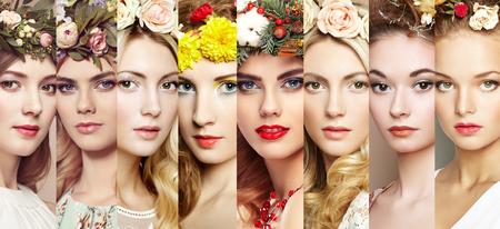 Schönheit Collage. Gesichter von Frauen. Schöne Frauen mit Blumen. Mode-Foto. Mädchen mit Kranz auf dem Kopf Standard-Bild