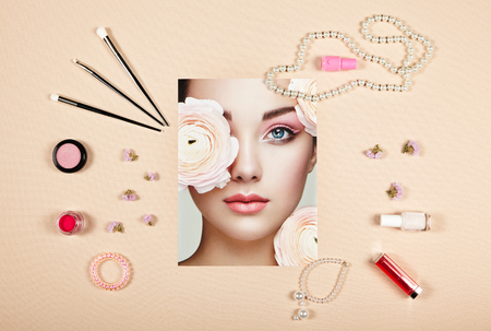 Fashion lady accessories collage. Falt Lay. Beauty photography. Make-Up brushes. Jewelry and nail polish. Portrait of beautiful young woman with flowers photo