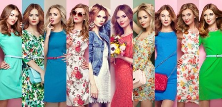 Fashion collage. Group of beautiful young women. Blonde young woman in floral spring summer dress. Girl posing. Summer floral outfit. Stylish wavy hairstyle. Fashion photo photo