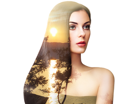Double exposure photo of beautiful woman with long hair. Girl with perfect makeup and hairstyle. photo