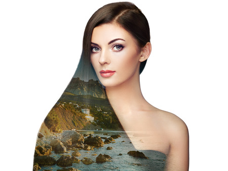 Double exposure photo of beautiful woman with long hair. Girl with perfect makeup and hairstyle. Model brunette with perfect healthy dark hair Stock Photo