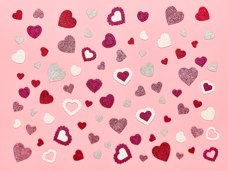 Valentine S Day Background Red Hearts On A Pink Background Stock