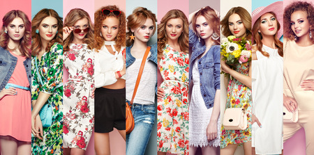 Fashion collage. Group of beautiful young women. Blonde young woman in floral spring summer dress. Girl posing. Summer floral outfit. Stylish wavy hairstyle. Fashion photo 版權商用圖片