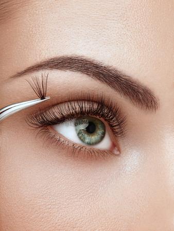 Weibliches Auge mit extrem langen falschen Wimpern. Wimpernverlängerungen. Make-up, Kosmetik, Schönheit. Nahaufnahme, Makro