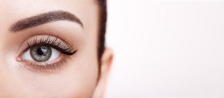 Female Eye with Extreme Long False Eyelashes. Eyelash Extensions. Makeup, Cosmetics, Beauty. Close up, Macro Stok Fotoğraf