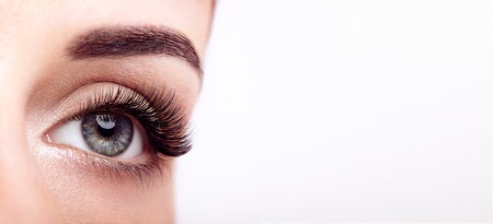 Female Eye with Extreme Long False Eyelashes. Eyelash Extensions. Makeup, Cosmetics, Beauty. Close up, Macro Stockfoto