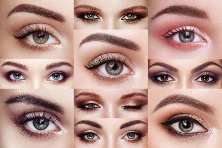 Collage di occhi femminili con ciglia estremamente lunghe. Extension ciglia. Trucco, cosmetici, bellezza. Primo piano, Macro