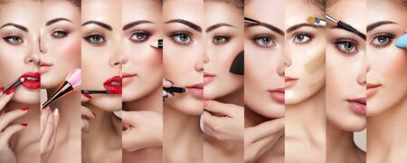 Collage de rostros de mujer aplicando maquillaje. Detalle de maquillaje. Modelo de belleza con piel perfecta. Trabajo de maquillador