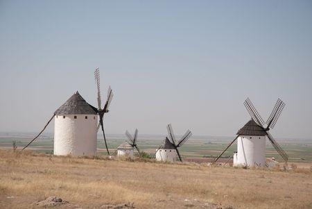 castilla la mancha: Medieval windmills dating from the 16th century overlooking the town of Campo de Criptana in Ciudad Real province, Castilla La Mancha, central Spain