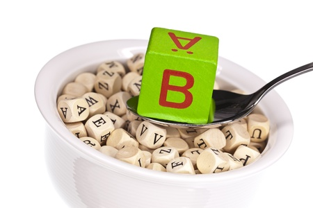 vivre: Vitamin-rich alphabet soup featuring vitamin b Stock Photo
