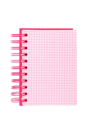 Pink spiral-bound notepad, isolated on white photo