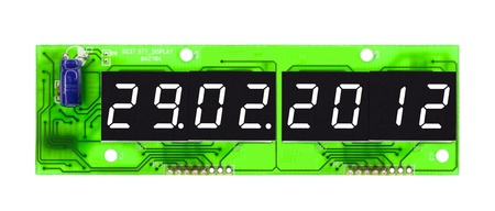 scheduled: Intercalary year 2012, date display on a circuit board, isolated on a white background