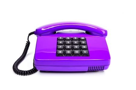 Classical lilac telephone from the eighties, isolated on a white background Stock Photo - 12041540