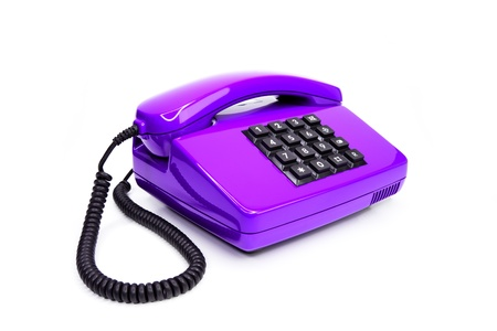 plain button: Classical lilac telephone from the eighties, isolated on a white background Stock Photo