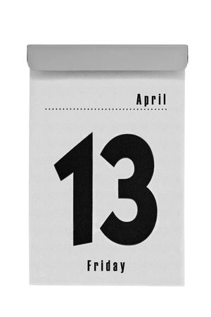 unlucky: Tear-off calendar shows friday the thirteenth in april, a unlucky day for lots of people, isolated on a white background