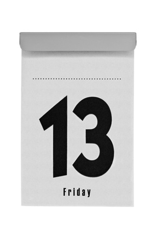 Tear-off calendar shows friday the thirteenth, a unlucky day for lots of people, isolated on a white background Stock Photo - 12161198