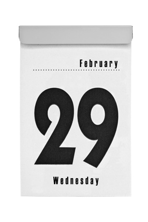 scheduled: Tear-off calendar shows february the 29th, intercalary year 2012, isolated on a white background