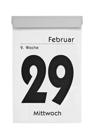 Tear-off calendar shows february the 29th, intercalary year 2012, isolated on a white background
