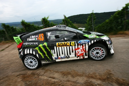 Trier, GERMANY, August 21, 2011 - Ken Block and his codriver Alex Gelsomino in their Ford Fiesta at the rainy SS16 of the WRC ADAC Deutschland Rally 2011