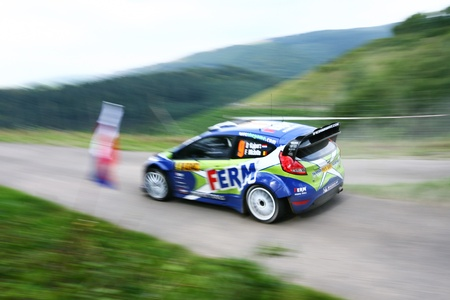 ferm: Trier, GERMANY, August 19, 2011 - Dennis Kuipers and his codriver Frederic Miclotte in their Ford Fiesta at the first stage (RuwertalFell 1) of the WRC ADAC Deutschland Rally 2011