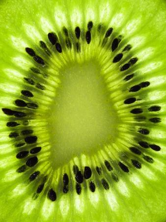 extreme macro: Kiwi fruit (chinese gooseberry) slice in detail