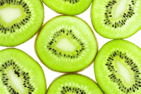 Kiwi fruit (chinese gooseberry) slices, side by side