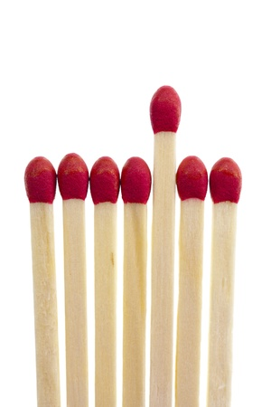 Symbolic selection procedure with a row of matches, isolated on a white background Archivio Fotografico