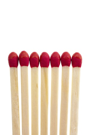 flame like: Seven matches in a row represents a strong social cohesion, isolated on a white background