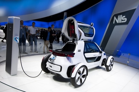 Frankfurt, GERMANY, September 16, 2011 - Volkswagen shows a new concept electric car called Nils, an urban single-seater Stock Photo - 12262040