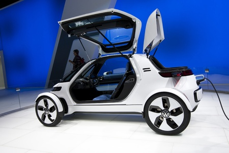 Frankfurt, GERMANY, September 16, 2011 - Volkswagen shows a new concept electric car called Nils, an urban single-seater Stock Photo - 12262036