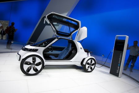 Frankfurt, GERMANY, September 16, 2011 - Volkswagen shows a new concept electric car called Nils, an urban single-seater Stock Photo - 12262037
