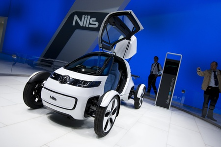 Frankfurt, GERMANY, September 16, 2011 - Volkswagen shows a new concept electric car called Nils, an urban single-seater Stock Photo - 12262038