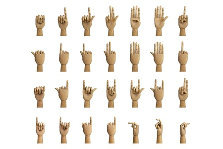 count down: Hand signals through an artificial hand made of wood, isolated on a white background