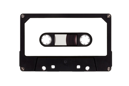 nineties: Single cassette tape, isolated on a white background Stock Photo