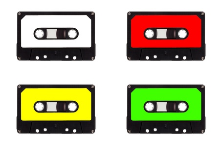 audio cassette: Quartet of cassette tapes, isolated on a white background