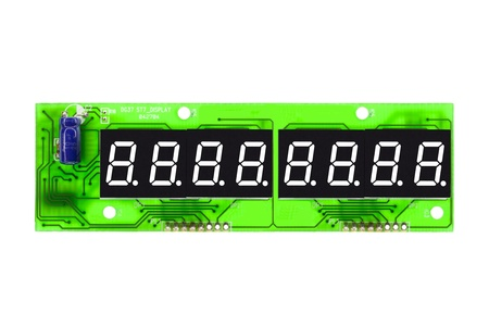 Eight-digit digital data display on a printed circuit board, editable and isolated on a white background Stock Photo