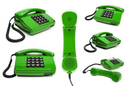 klassieke telefoon collectie, geïsoleerd op een witte achtergrond Stockfoto