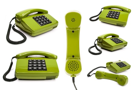 classic telephone collection, isolated on a white background
