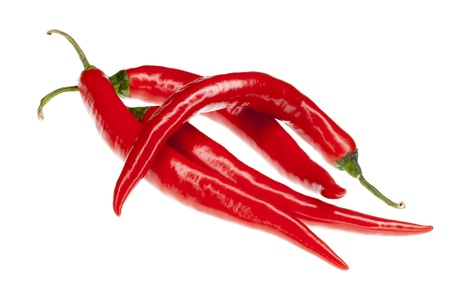 fresh red hot chili peppers, isolated on white background